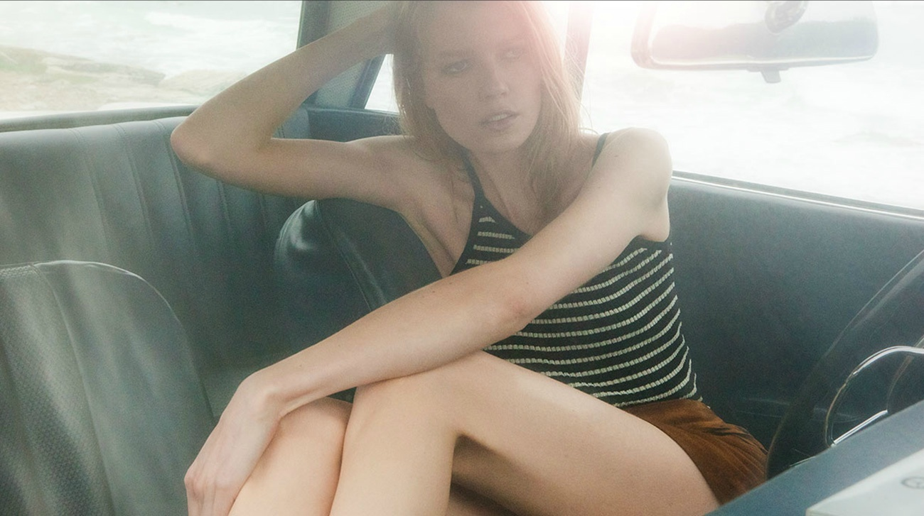 Model inside car Matches Fashion Biarritz Riviera Days Chris Vidal Tenomaa Saara Sihvone Beach Shooting Production Company ManaMedia Creative Content Agency Dani Kiwi Meier Portland PDX