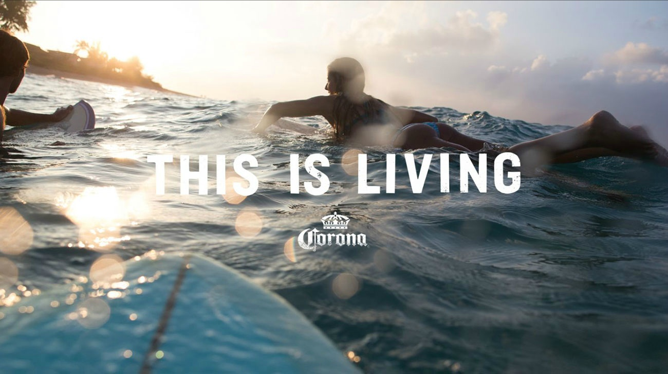 paddle - Corona This is Living Surfing Lifestyle Beer at the Beach MANA ManaMedia Production Company Dani Kiwi Meier Sunset Portland
